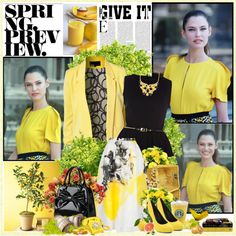 """Yellow spring"" by glitterbaby77 ❤ liked on Polyvore"