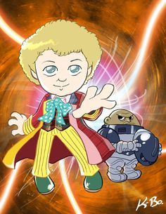 Art card of the Sixth Doctor: Colin Baker with a Sontaran. Doctor Matt S. Doctor Who Colin Baker Colin Baker, Classic Doctor Who, Doctor Who Art, 10th Doctor, Torchwood, To Infinity And Beyond, Geronimo, Time Lords, Dr Who