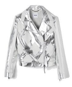 Moschino silver leather jacket