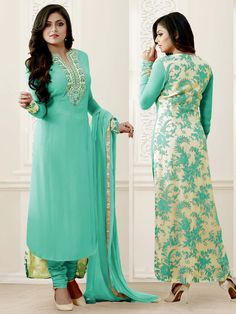 Ravishing sea green color georgette kameez with zari, kundan, resham work. Item code: SLHD83010 http://www.bharatplaza.com/new-arrivals/salwar-kameez.html