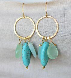 Aqua and Gold earrings