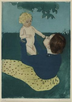 Mary Cassatt (1844-1926)  Under the Horse Chestnut Tree  Drypoint and aquatint in color, ca. 1896
