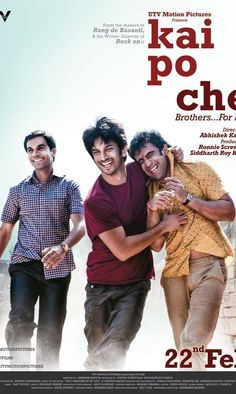 Directed by Abhishek Kapoor. With Amit Sadh, Sushant Singh Rajput, Rajkummar Rao, Amrita Puri. Three friends growing up in India at the turn of the millennium set out to open a training academy to produce the country's next cricket stars. Movie Songs, I Movie, Amrita Puri, Kai Po Che, Good Movies To Watch, Sushant Singh, Three Friends, Bollywood Celebrities, Favorite Person