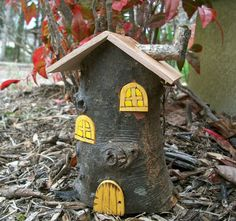 Fairy House 6 1/2 Inches Tall, Arched Fairy Door and Windows, Goldenrod  with Chimney on Etsy, $20.00