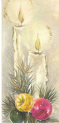 Vintage Christmas Card Candle Ornaments Gold Trim Slim Jims Hallmark Mid Century (¯`' Vintage Christmas Images, Old Christmas, Christmas Scenes, Christmas Candles, Retro Christmas, Vintage Holiday, Christmas Pictures, Christmas Crafts, Hallmark Christmas