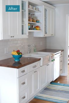 A Dingy Kitchen Gets A Major Overhaul I like the butcher block countertops!