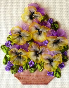 Purple and Yellow Pansy Flower Ribbonwork