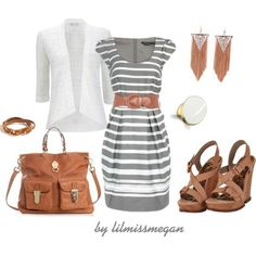 Gray and brown casual dress outfit.I didnt know gray and brown go together. Super cute outfit for PR Casual Dress Outfits, Mode Outfits, Summer Outfits, Fashion Outfits, Womens Fashion, Gray Dress Outfit, Fashion Clothes, Casual Wear, Outfit Jeans