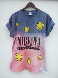 Dip Tie Dye Ombre Nirvana Nevermind Grunge T Shirt Top Hipster - XL