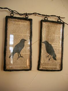 If your crow pictures (or any artwork for that matter) don't have frames, here is an idea.  I saw something like these small pictures framed...