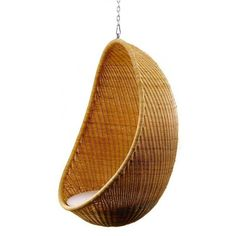 Hanging Egg Chair - Indoor Most of us are familiar with the iconic design of the egg shaped chair floating in the air. The Hanging Egg Chair is a Rattan Egg Chair, Egg Swing Chair, Hanging Egg Chair, Swinging Chair, Swing Chairs, Swivel Chair, Wicker Swing, Rocking Chairs, Beach Chairs