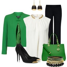St Patty's at the Office by justbeccuz on Polyvore featuring moda, MICHAEL Michael Kors, Topshop, STELLA McCARTNEY, Alexander McQueen and Monet