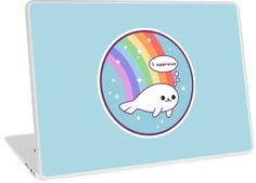 Super cute funny seal of approval laptop skins with rainbow.