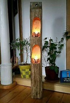Windlicht Laterne aus Holzbalken Skulptur Alt Eichenbalken Stele Dekosäule
