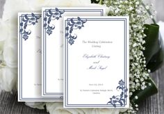 Printable wedding ceremony programme template navy blue by Oxee, $8.00