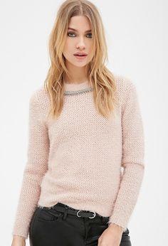 FOREVER 21 Rhinestone Beaded Fuzzy Sweater