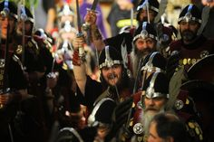 Hundreds Of Armor-Clad Scots March The Streets Of Shetland For 'Up Helly Aa' Festival