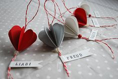 Paper heart ornaments