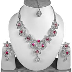 Kundan Bollywood Zirconia Silver Plated Magenta Fashion Jewellery Set V#51