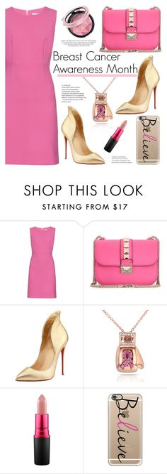 """""""I Wear Pink for..."""" by deeyanago ❤ liked on Polyvore featuring Diane Von Furstenberg, Valentino, Christian Louboutin, Kershaw, Kobelli, MAC Cosmetics, Casetify and IWearPinkFor"""