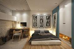 biała cegła na ścianie w sypialni,tapeta ścienna w biało-szare paski,drewniane nowoczesne biurko i krzesło,materac na drewnianym podeście w sypialni - Lovingit.pl