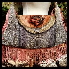 Boho Gypsy Tote, Paris Chic, Lavender and Dusky Rose, Silver and Gold, Slouch Bag, Shoulder Bag, Cross Body Bag, Handmade on Etsy, $250.00