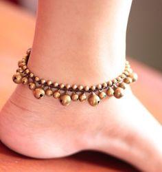 Sun Flower Anklet by brasslady on Etsy