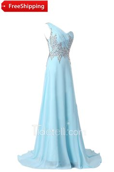 Exquisite A-line One Shoulder Long Chiffon Prom Dress With Rhinestone