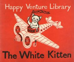 Happiness = a kitten with a flag flying an airplane