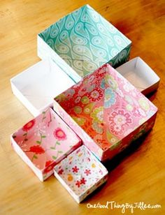 How to make a simple homemade gift box!  No glue, tape, staples, etc. required! Make clear or paper tops for boxes