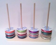 Scrapbook Ribbon Holder Storage Rack Spool by DesignsbyDuane Diy Organizer, Ribbon Organization, Craft Organization, Storage Hacks, Diy Storage, Wire Storage Racks, Thread Storage, Ribbon Holders, Spool Holder