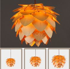 Modern Special Design Pendant Light Diameter 300mm/450mm/600mm Pinecone Wood Pendant Lights Creative Hanging Lamps AC 90-265V