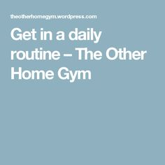 Get in a daily routine – The Other Home Gym