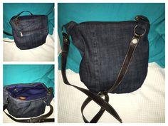 Upcycling Jeanstasche selbst gemacht aus einer alten s Oliver Tasche  Gurt und Reisverschlüsse wurden recycelt und die alte Tasche durch den Jeansstoff ersetzt. Schnittmuster Freebook von Robert Kaufmann
