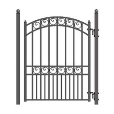ALEKO Their gates capture the classic elegance of wrought iron gate designs. This quality gate is powder coated and galvanized for years of trouble free good looks and security. This pedestrian gate goes well with all other styled gates. Metal Fence Gates, Steel Fence Panels, Wrought Iron Fences, Fencing, Wrought Iron Gate Designs, Driveway Fence, Pool Fence, Aluminium Gates, Aluminum Fence