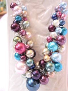 Multicolor Pearl Cluster Necklace