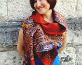 Orange Terracotta Rustic Summer Shawl. Gift under 70
