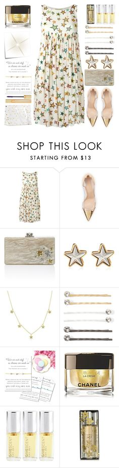 """""""Stardust"""" by grozdana-v ❤ liked on Polyvore featuring Yves Saint Laurent, Gianvito Rossi, Edie Parker, Givenchy, Vieste Rosa, Post-It, Chanel and Trish McEvoy"""