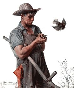 """Farmer and the Bird"" by Norman Rockwell Painting Print on Canvas"