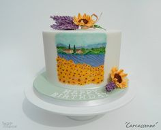 Carcassonne theme hand painted cake - Gumpaste lavender - gumpaste sunflower - Provence theme cake by Sugar & Spice Gourmandise Gifts https://www.facebook.com/SugarandSpiceGourmandise