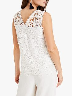 Phase Eight Aleah Lace Blouse, White at John Lewis & Partners White Lace Blouse, Embroidered Lace Fabric, Phase Eight, Wide Leg Trousers, Lace Sleeves, Warm Weather, Latest Trends, Personal Style, John Lewis
