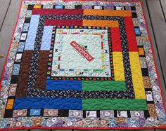 """Monopoly - Monopoly Quilt - Game Quilt - 52"""" x 53"""" - Monopoly Throw - Monopoly Blanket"""