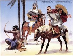 Nubian King Silko of an ancient African Christian kingdom of Nobatia being guarded by a roman soldier of the Roman Emperor Diocletian