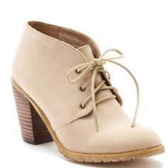 """Restricted Penny Bootie Round toe, lace-up, heel approx 3"""" & faux suede. Color taupe. Restricted Shoes Ankle Boots & Booties"""