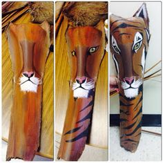 Chelsey Fernweh: Art on Palm Fronds Palm Tree Crafts, Palm Tree Decorations, Palm Tree Art, Palm Tree Leaves, Palm Trees Beach, Palm Frond Art, Palm Fronds, Paper Mache Animals, Tiger Painting