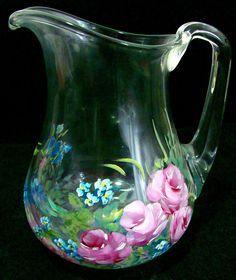Pintando Rosas - jarra de vidro