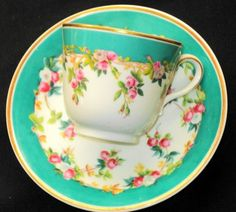 COPELAND TURQUOISE AQUA TEA CUP AND SAUCER ROSE ROSEBUDS c.1851-1885