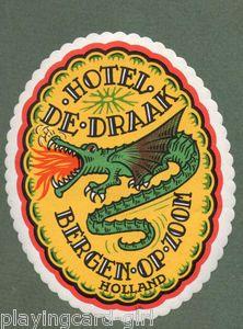 Old Holland hotel luggage label, fire-breathing dragon | eBay