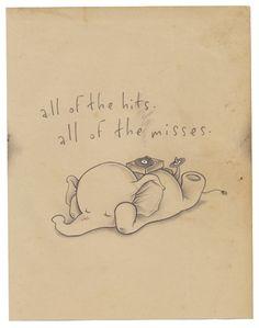 the long player - Kurt Halsey Elephant Love, Elephant Art, Elephant Tattoos, Elephant Illustration, Kawaii Illustration, The Get Up Kids, Kurt Halsey, Stencil, Baby Dumbo