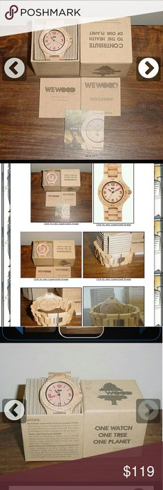 """New WeWOOD Light Maple Pink Wooden Watch This is for a brand new, in the box, 100% authentic WeWood wooden watch. This watch was purchased for me as a gift while on a cruise in Grand Turk and does not fit me, so I am selling. It is a beautiful light wood with pink numbers and hands. Comes with all you see in the pictures. Watch measures 7.75"""" long. Made of 100% natural wood. The wood is maple-acer saccharum (beige). WeWOOD Accessories Watches"""